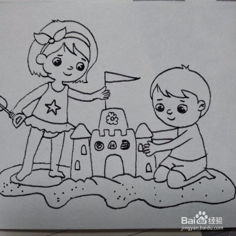 如何画两个再沙滩上堆城堡的小朋友卡通简笔画