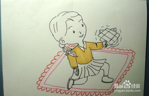 彩色简笔画玩手帕的小女孩