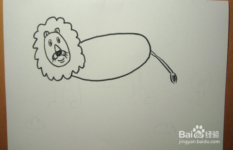 儿童简笔画之夜晚散步的小狮子