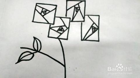 简笔画 玫瑰花的画法2