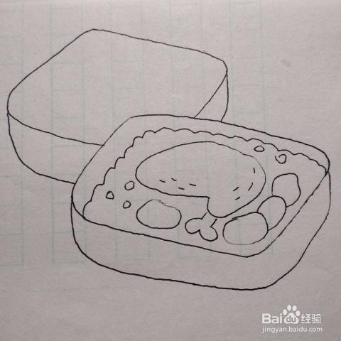 怎么画两个盛满香喷喷的饭菜的便当盒卡通简笔画
