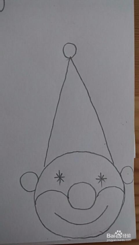 多妈简笔画用圆形来画小丑的头部