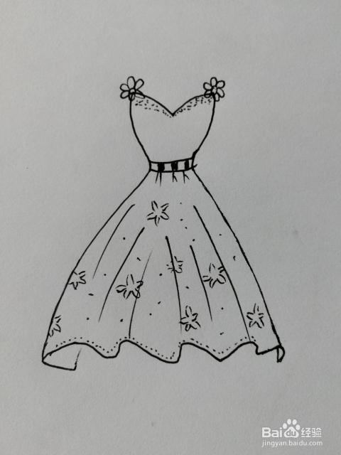 简笔画 19 美丽的花裙子