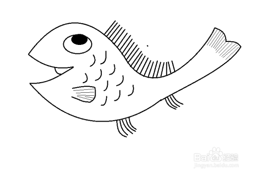 卡通简笔画鱼的画法