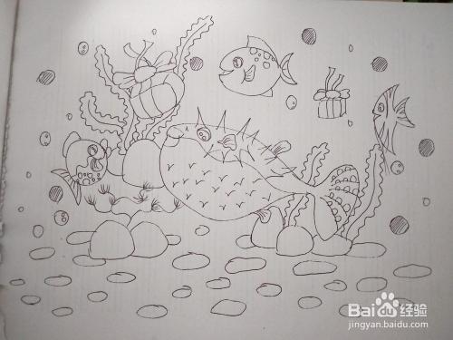 如何画一幅海底世界简笔画,怎么画海底的鱼