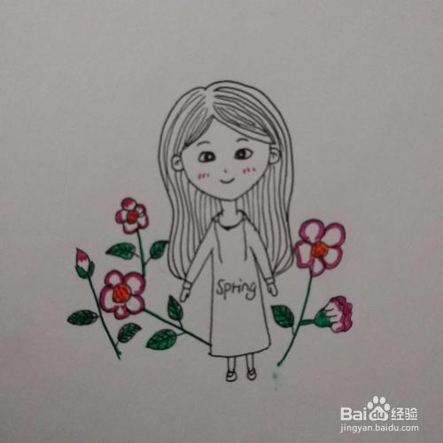 小清新简笔画 运动连衣裙女孩与花