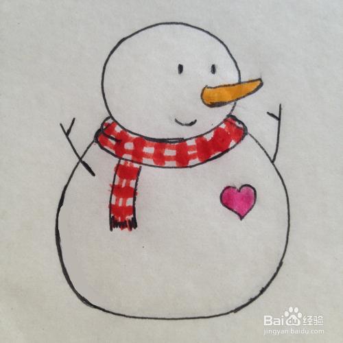 简笔画 冬季的小雪人