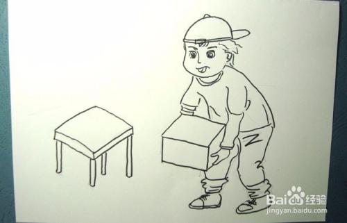 彩色简笔画搬箱子的男孩