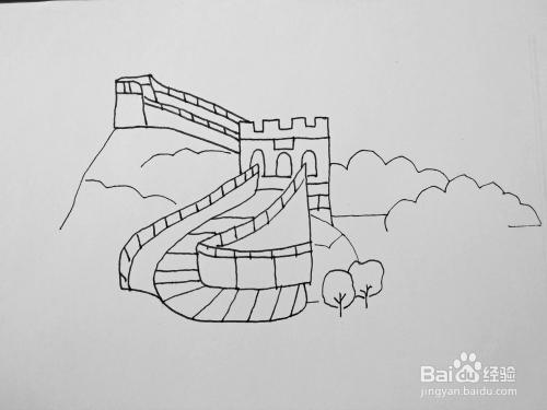 手绘长城简笔画教程 怎么教小孩画长城儿童画