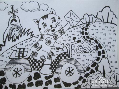 幼儿黑白线描画 小花猫送信