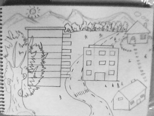 教你简单画一幅城乡结合的简笔画