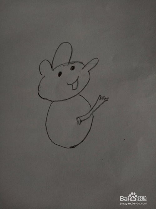 小田鼠吃蛋糕简笔画