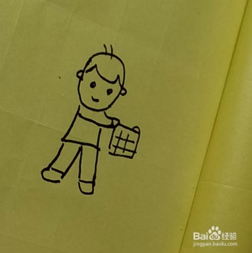 简笔画 玩手帕的小男孩