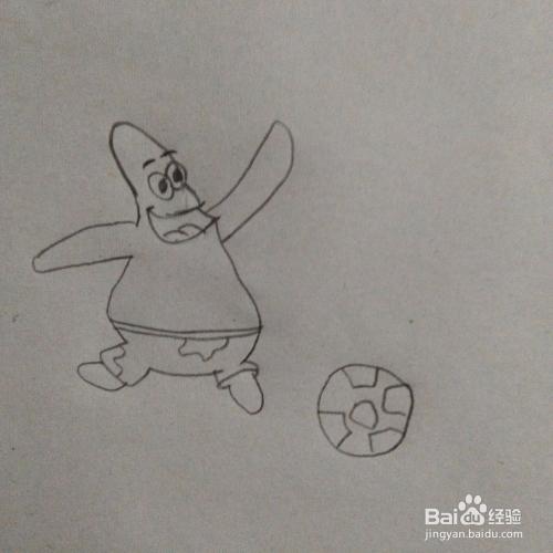 踢球的派大星卡通简笔画