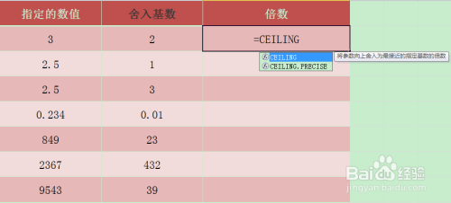 Excel CEILING函数的使用方法