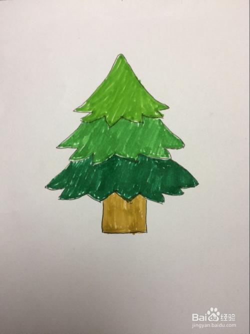 几笔画出小松树