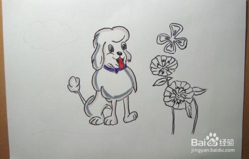 儿童简笔画之花园中的贵宾犬