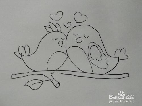 抖音中爱心小鸟简笔画方法