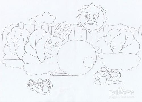 简笔画采蘑菇的小白兔