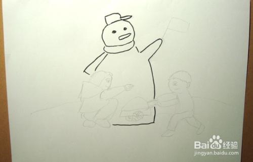 儿童简笔画之玩堆雪人的场景