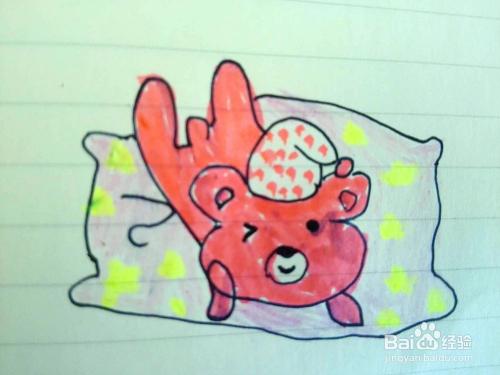睡觉中的小熊简笔画