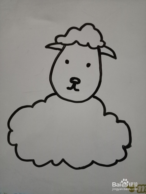 简笔画卡通坐立小绵羊