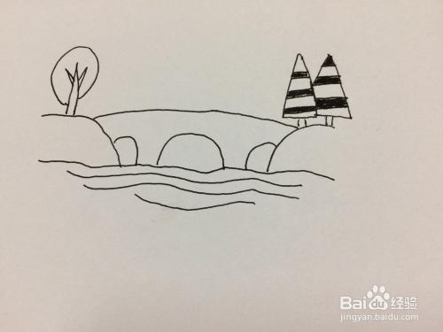 怎样简笔画河水小桥风景画