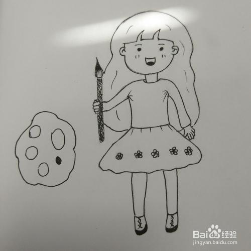 学画简笔画6 Q版小女孩 小画家 的画法