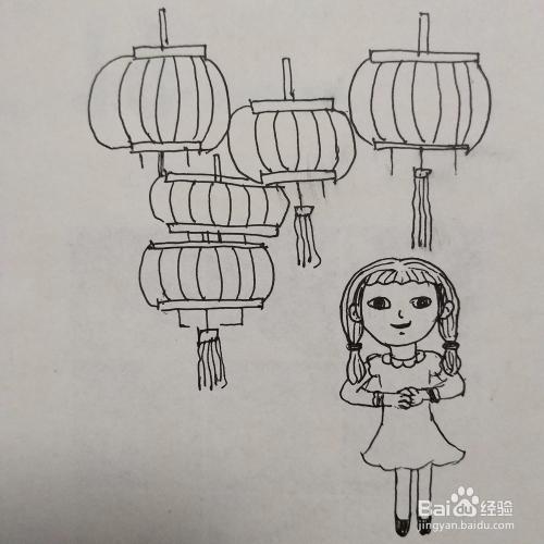 简笔画小女孩与元宵节快乐