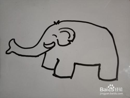 简笔画 喷水的大象