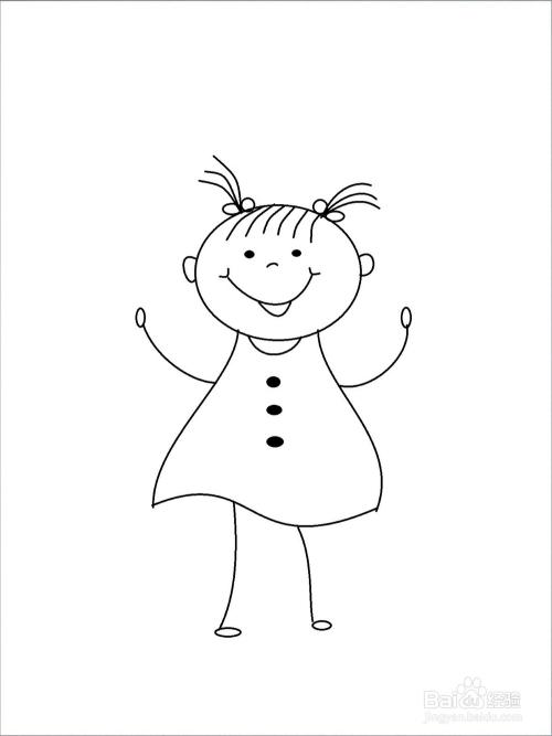 可爱小女孩的简笔画步骤