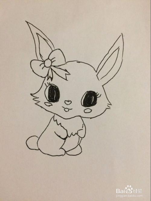 儿童简笔画 戴蝴蝶结小兔子的画法