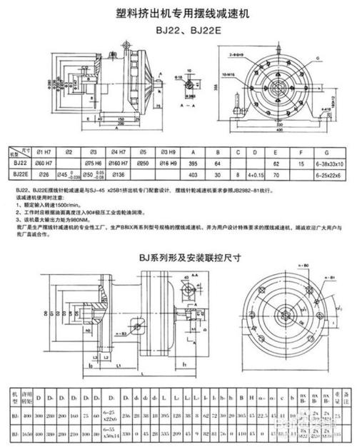 行星摆线针轮减速机安装尺寸图纸