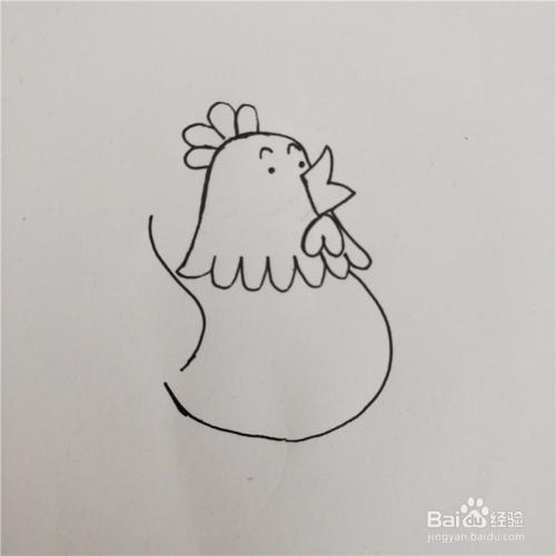 如何画卡通母鸡的简笔画