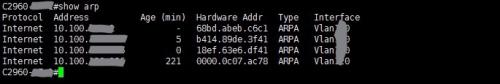 思科交换机端口号、终端IP地址和MAC地址的互查