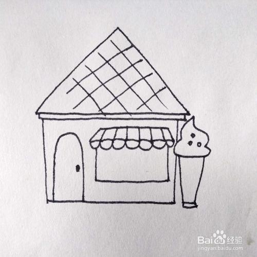 怎么画一家售卖冰激凌的商店卡通简笔画教程
