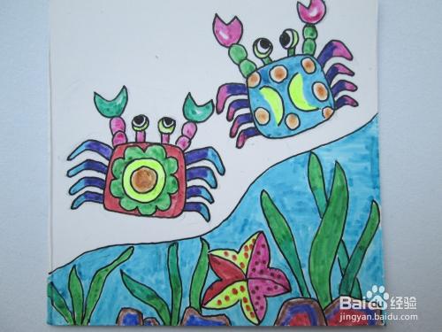 幼儿水彩笔画 沙滩上的螃蟹 的作画步骤