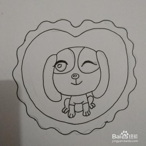 简笔画56 心形中画的狗狗