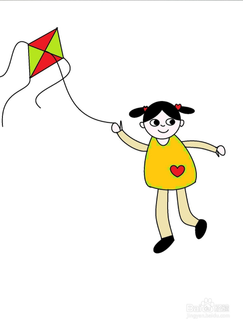 放风筝的小女孩简笔画方法