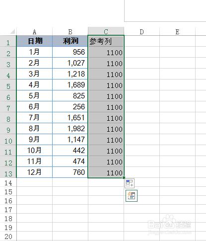 Excel 2013如何给图表添加参考线
