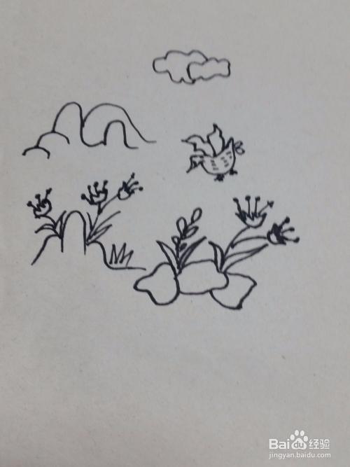 山林飞鸟幼儿简笔画