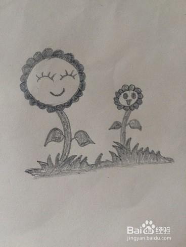 草地上的花儿简笔画