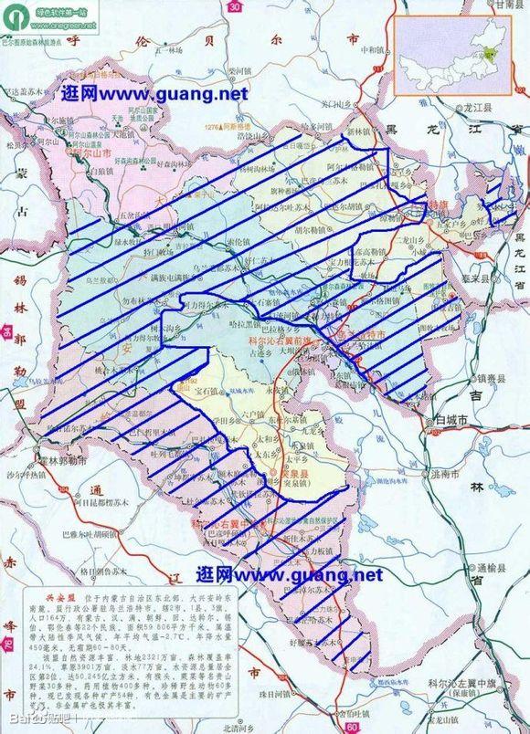 兴安盟科右中旗地图_图中蓝色斜线部分为蒙古族聚居区,蓝色圆表示蒙古族比例达百 ...