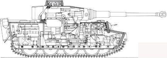 虎式坦克cad图纸_早期型虎式坦克剖面图。