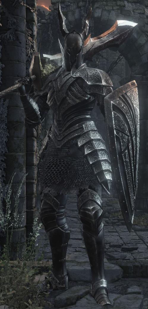 黑暗铠甲图片_《黑暗之魂3》中的黑骑士