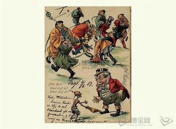 法牛与英牛图片_列强瓜分中国,英国来晚了(图里红衣为英国),上面从左开始 ...