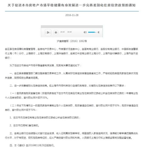 上海房贷新政