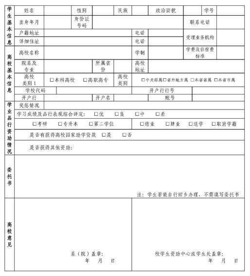 2016生源地助学贷款申请表