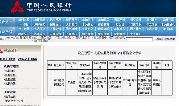 央行颁发中国首家个人征信牌照 3年有效期