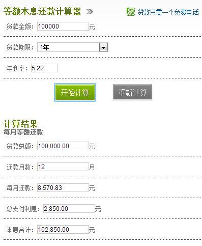 银行贷款10万利息